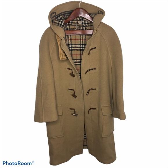 Burberry Wool Camel Toggle Peacoat Coat Jacket 52
